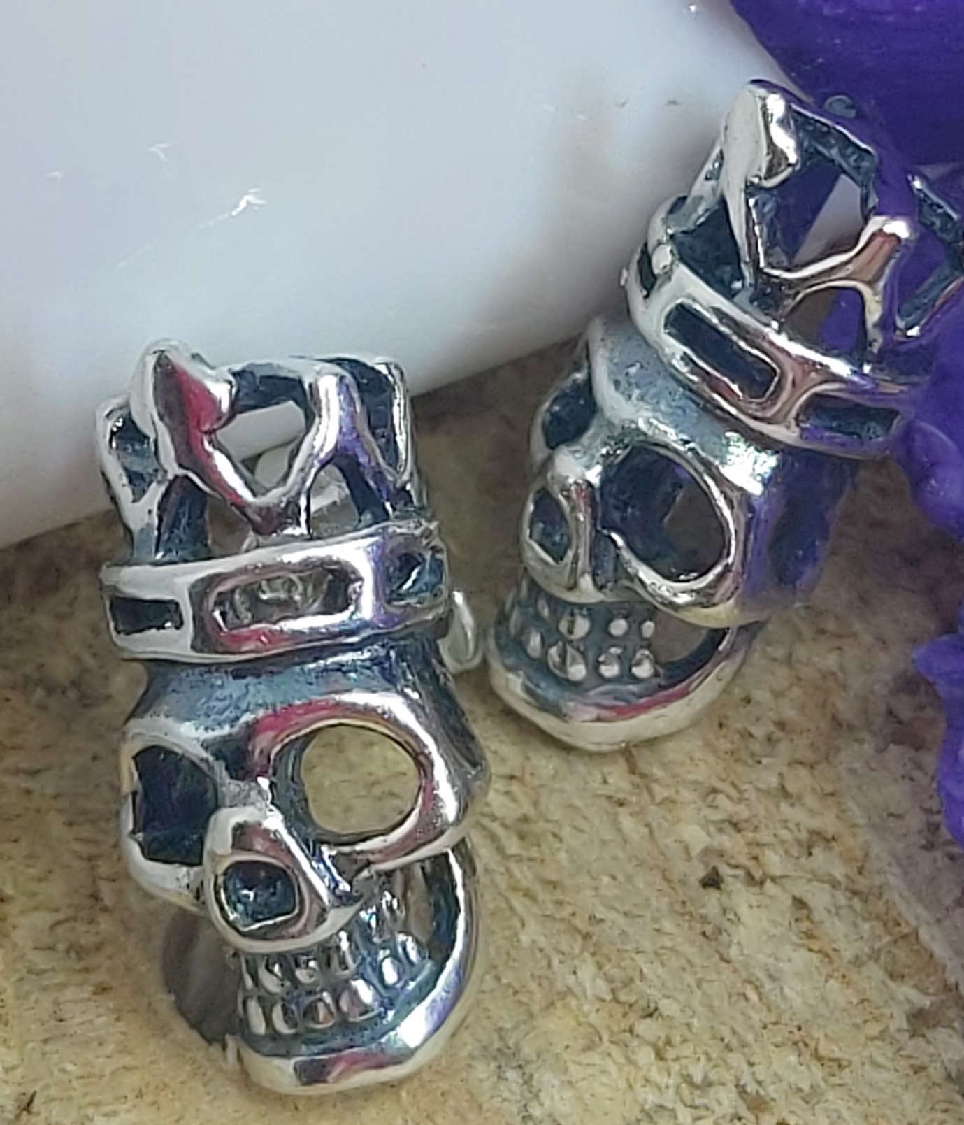 Sterling Silver Crowned Skull studs Image