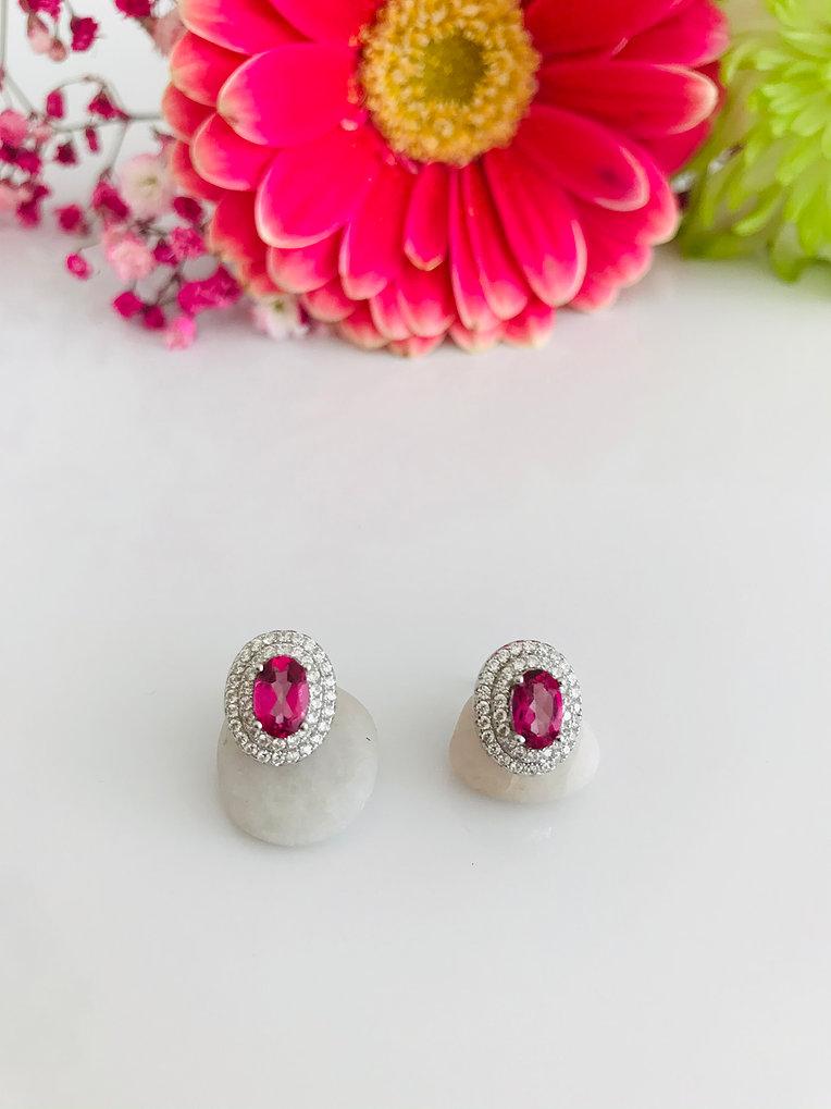 Oval Brazilian Pink Topaz Silver Earrings Image