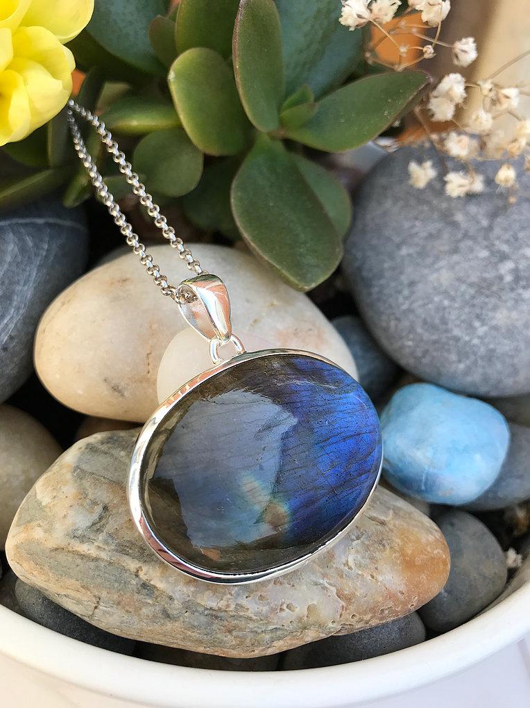 Large Labradorite Silver Necklace Image