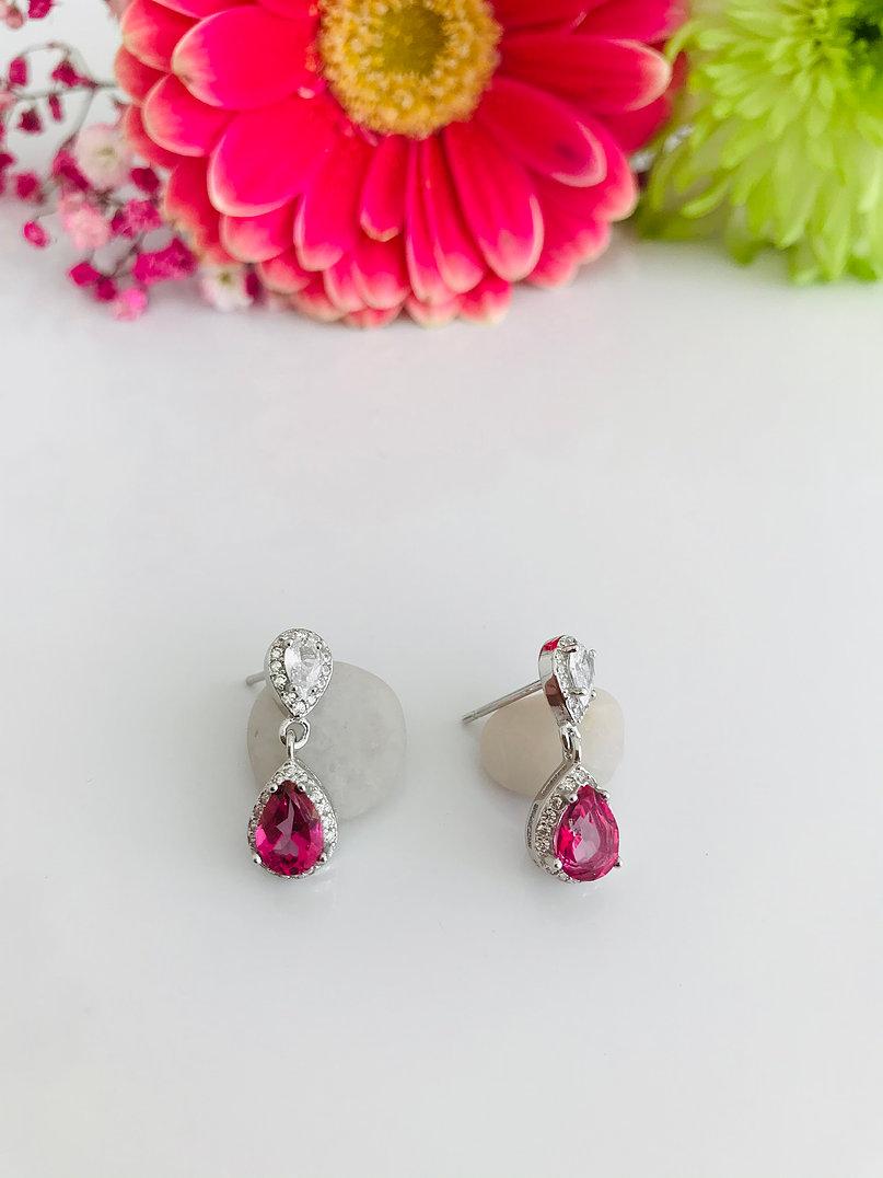 Brazilian Pink Topaz Silver Earrings Image