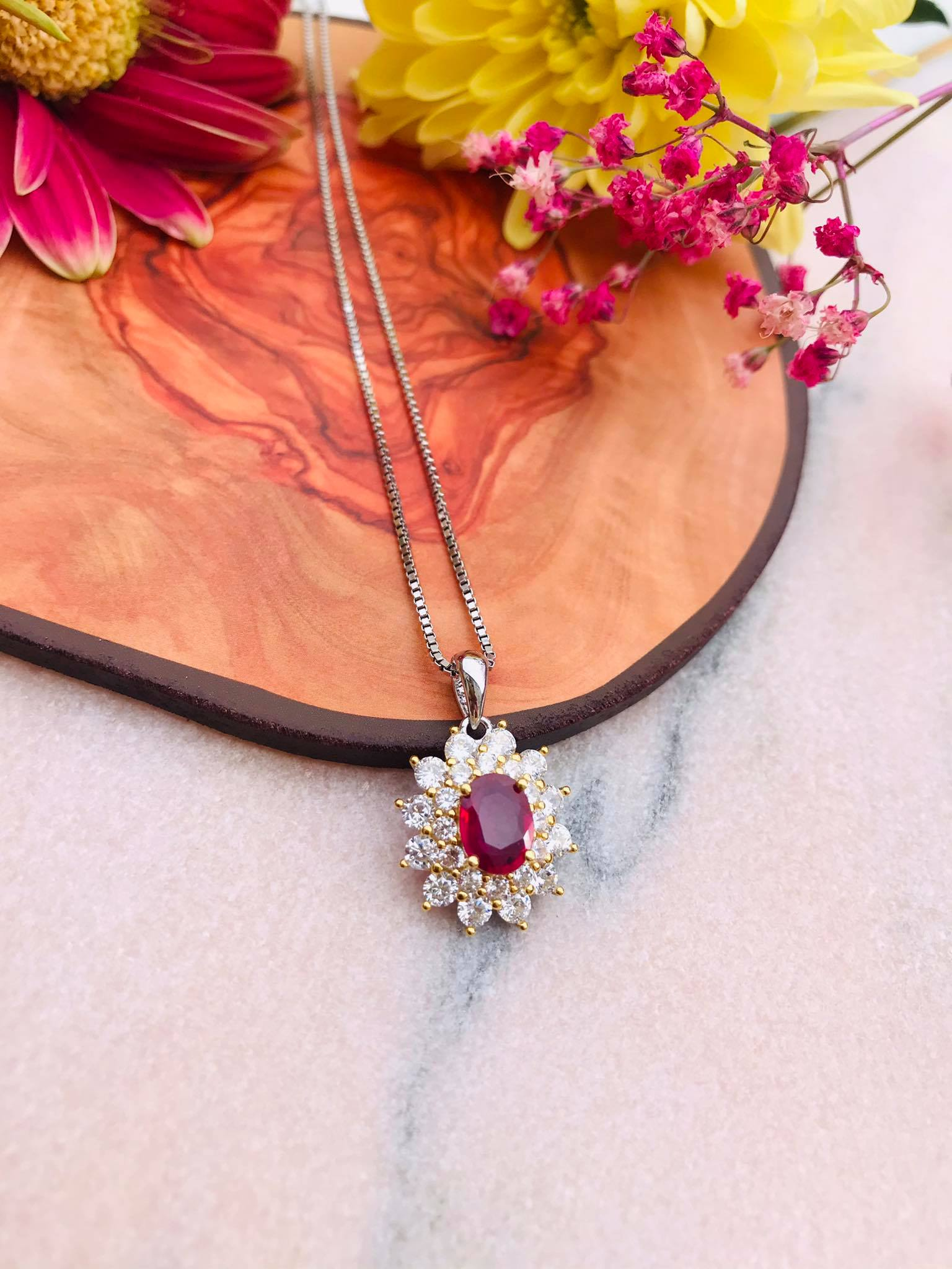 Burmese Ruby Double Halo Silver Necklace Image