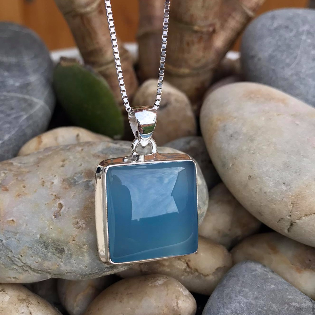 Square Blue Chalcedony Sterling Silver Pendant &  18 inch Silver Chain Image