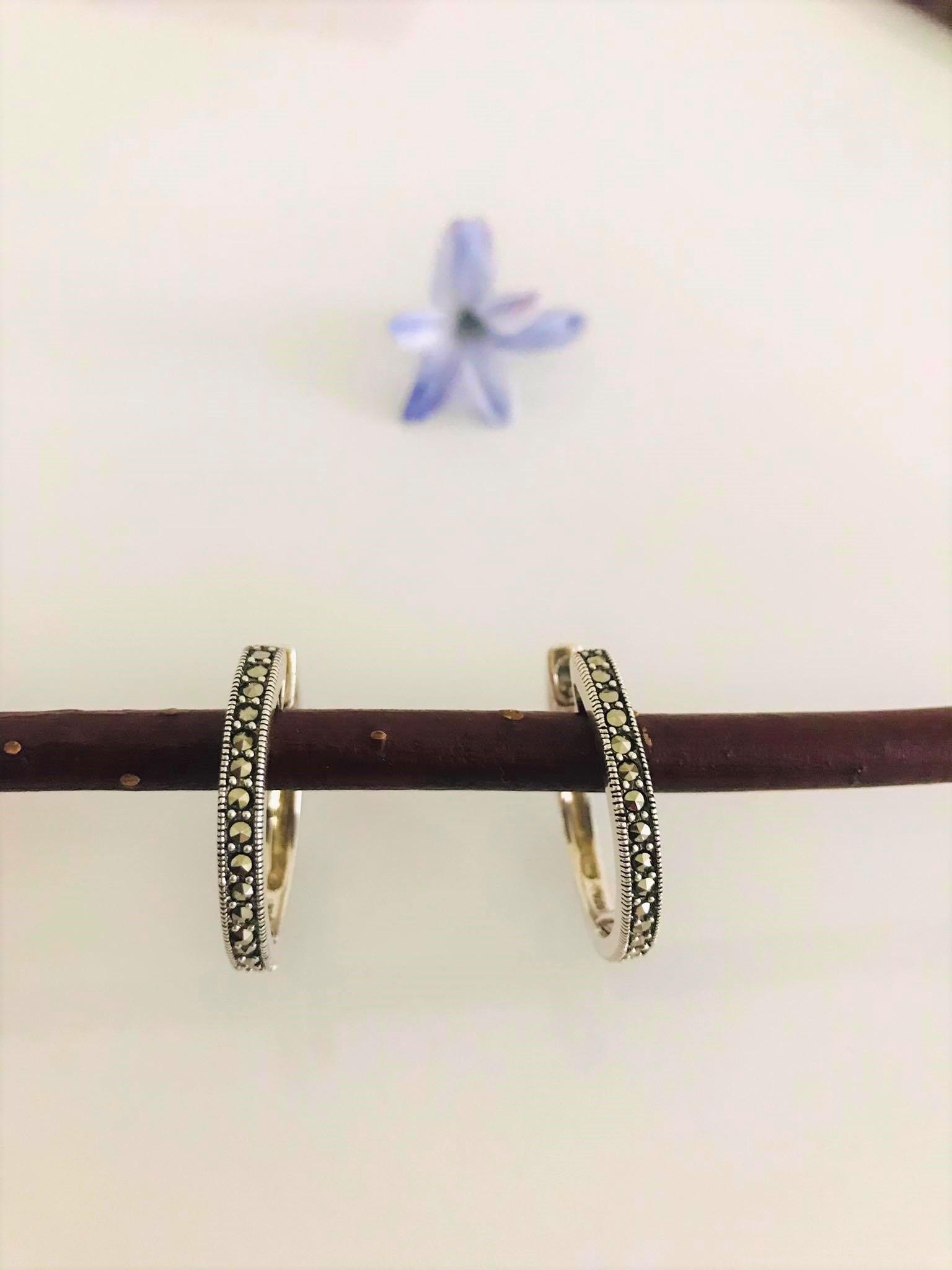 Lovely  Sparkling Marcasite Hoop  Sterling Silver Earring Image