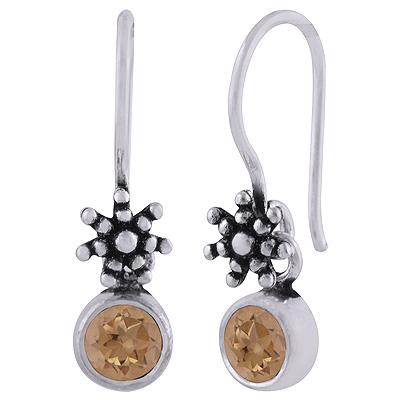 Sterling Silver Citrine Star Drop Earrings Image