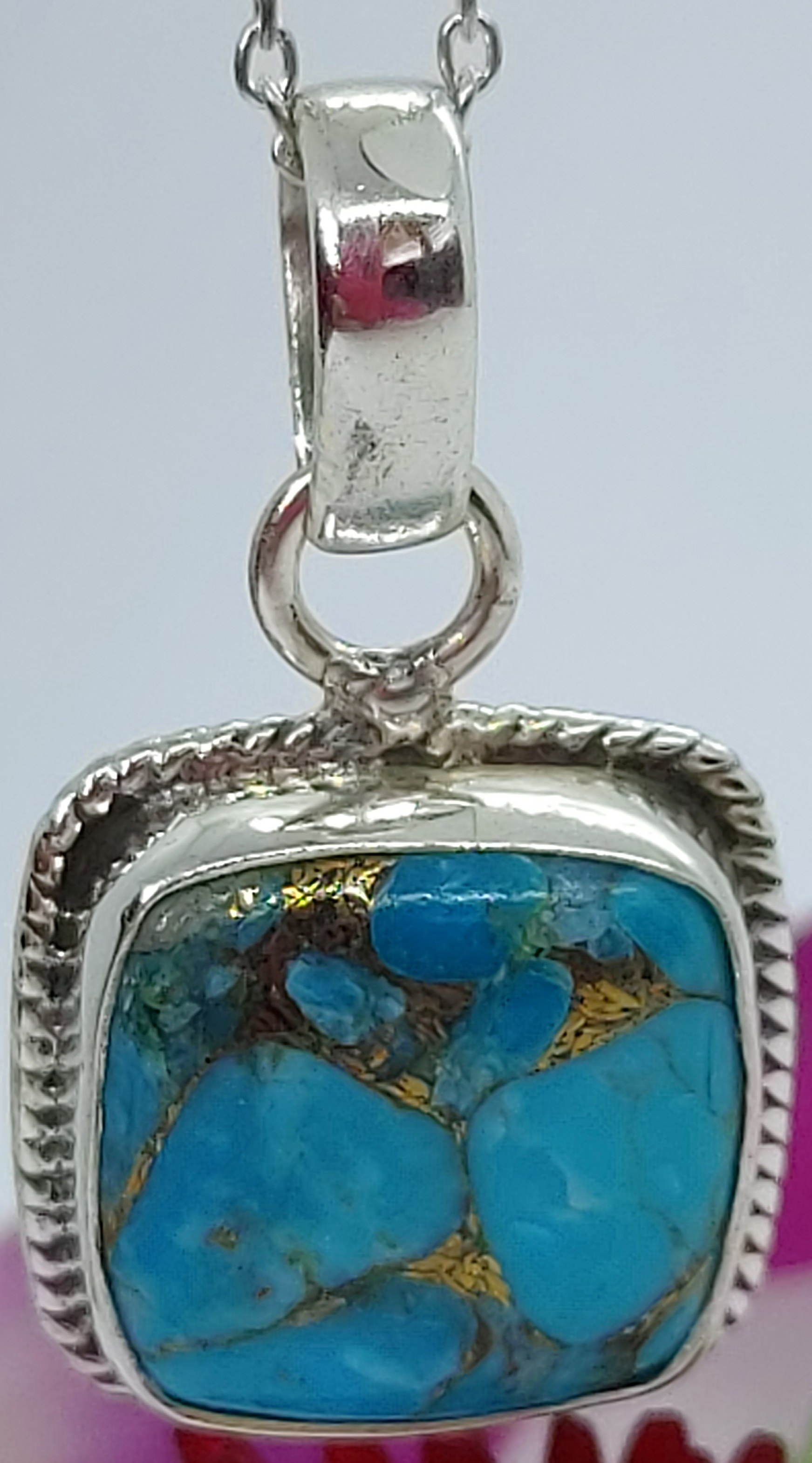 """Sterling Silver Copper Turquoise Pendant 18"""" chain  Image"""