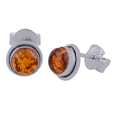 Sterling Silver Amber Studs Earrings round Image