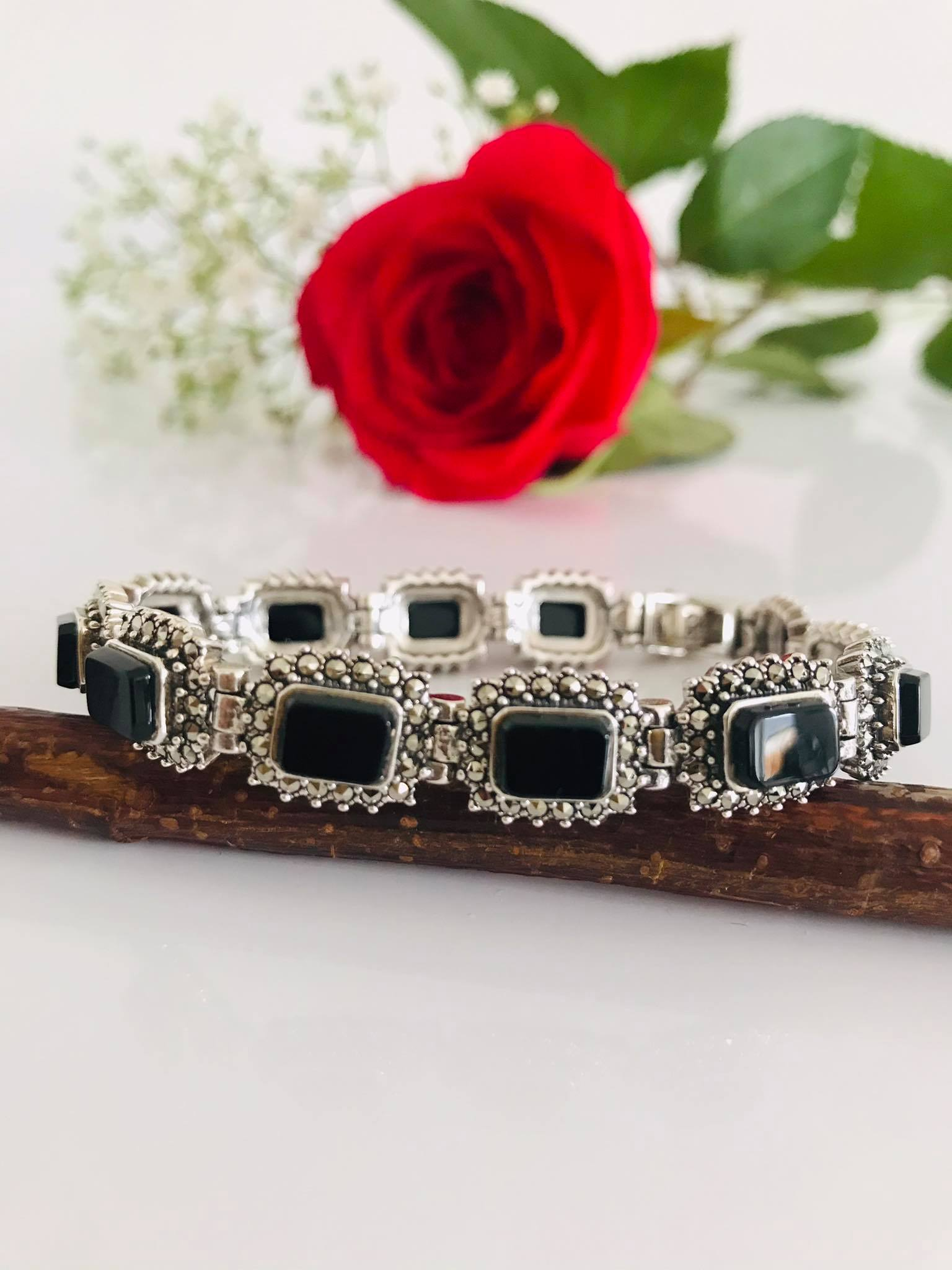 Antique Black Onyx & Marcasite Sterling Silver Bracelet WAS  €198, NOW €168.00 Image
