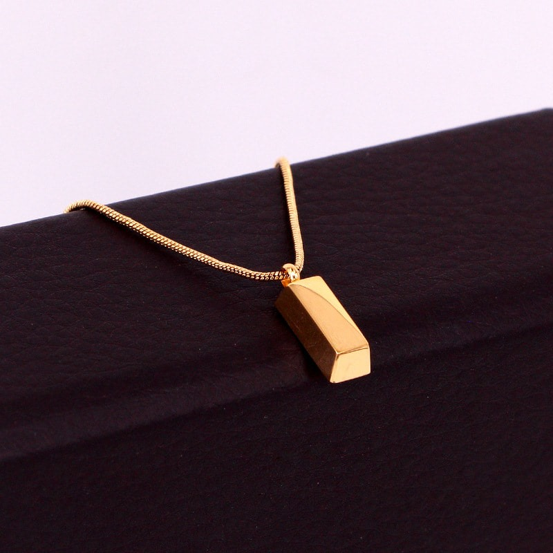 Simple Plain High Polished Cube Pendant Necklace(Gold) Image