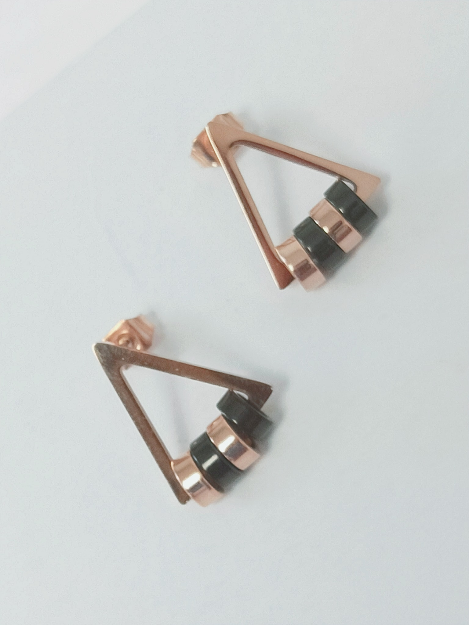 Triangle Shape Rose-gold Studs Earring / Nickel Free Earring Image