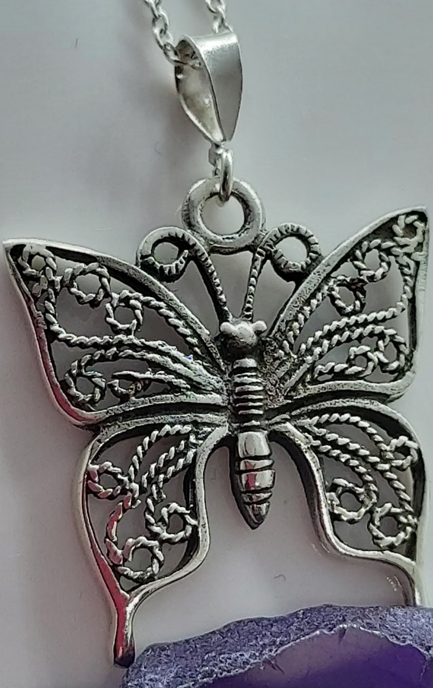 """Sterling Silver Butterfly 🦋 pendant 20"""" chain  Image"""