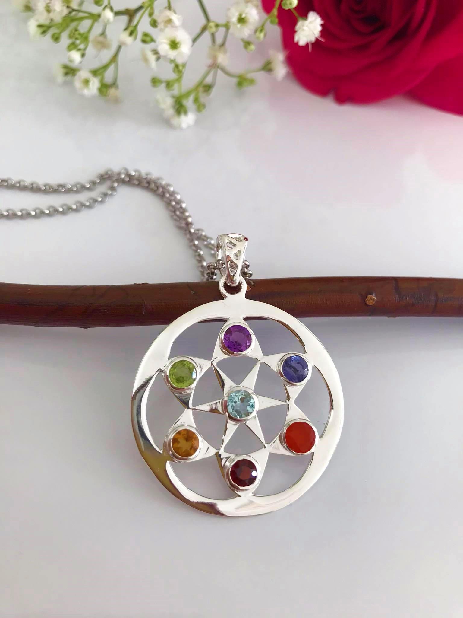 Star  Seven Chakra Silver Pendant & 18 Inch  Chain Image