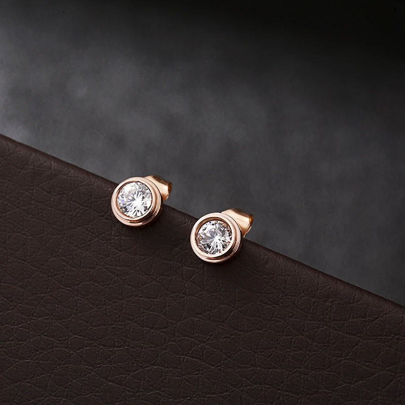 SIMPLE ROUND ROSEGOLD STUD EARRING Image