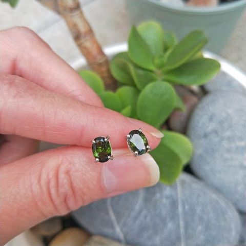 Lovely Oval Cut Natural Tourmaline Sterling Silver Earrings-Olive Green Image