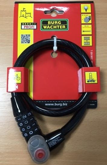 Heavy duty combination cable lock with light Image