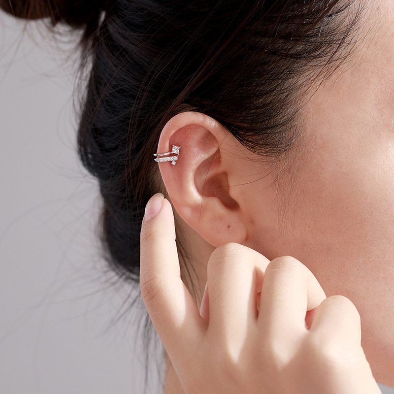 Dazzling Silver Pave Set  Climber Ear Cuff  Image