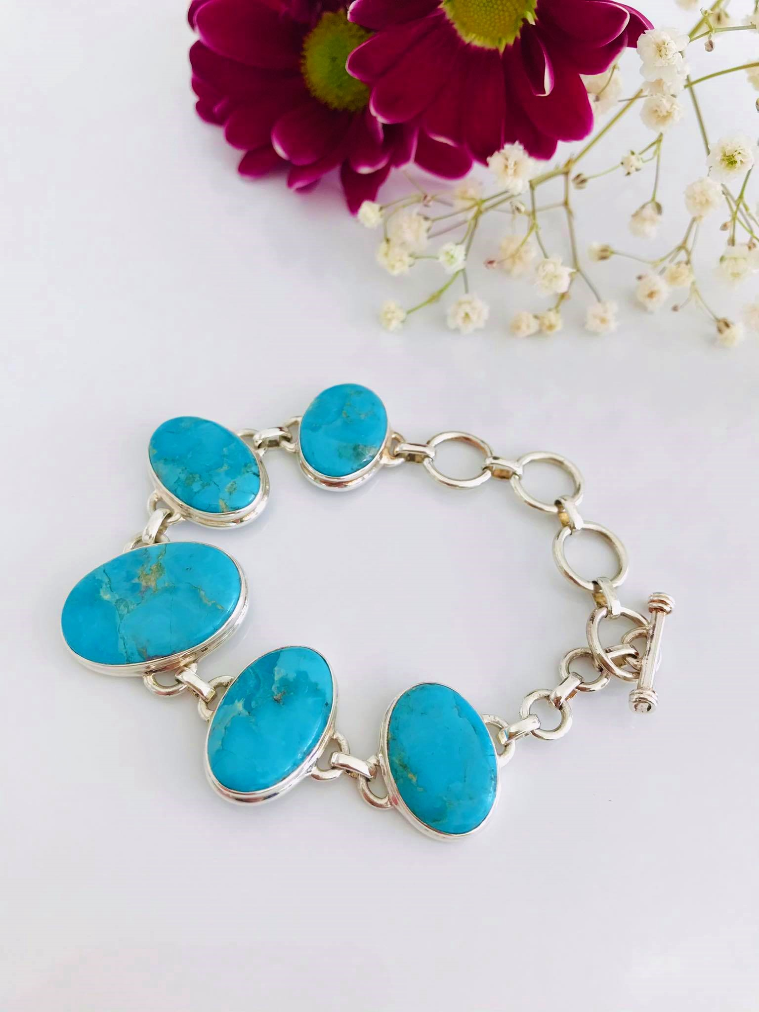 Natural Blue Mohave Turquoise  Silver Bracelet Image