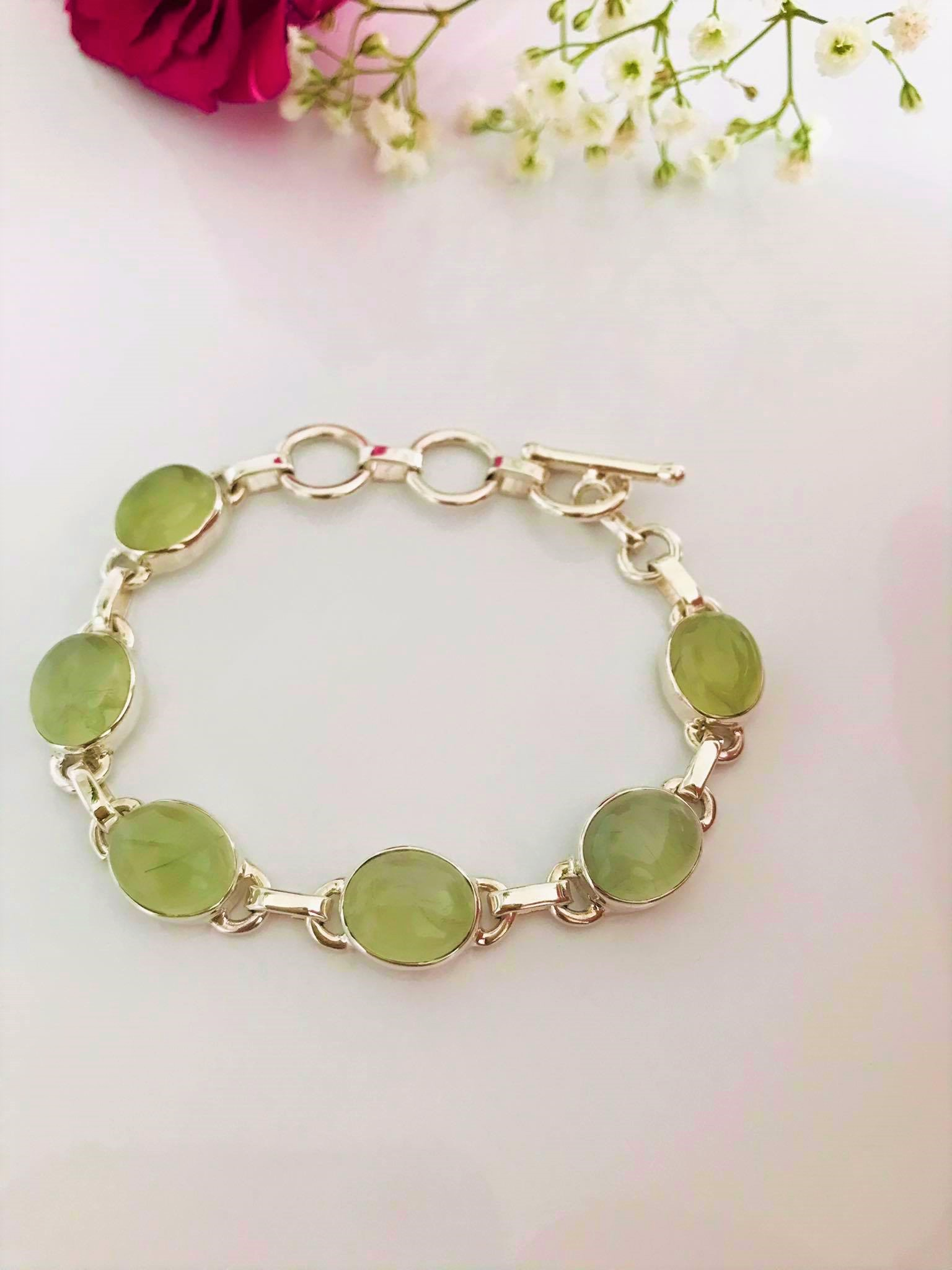 Beautiful Handset Natural Oval Prehnite Sterling Silver Bracelet Image