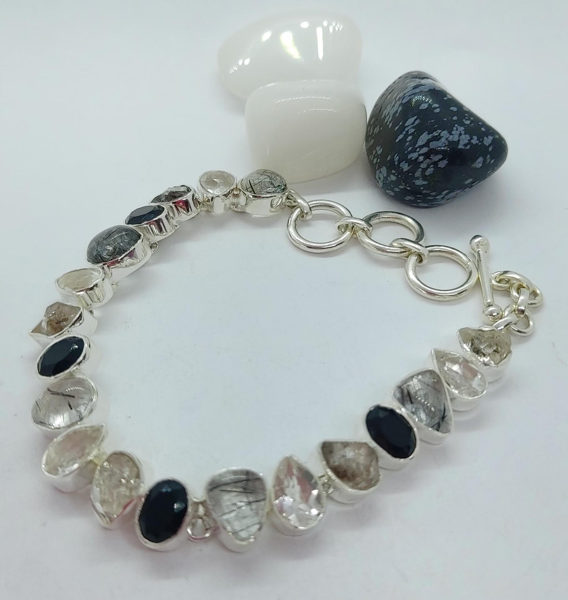 Sterling Silver Black Rutile Quartz Bracelet  Image