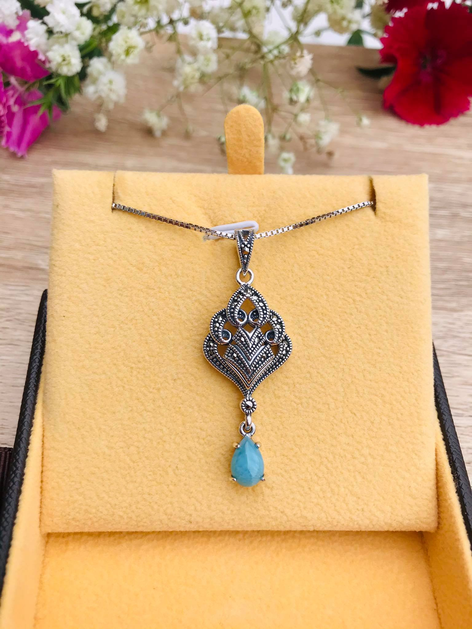 Larimar & Marcasite set in Silver Necklace Image