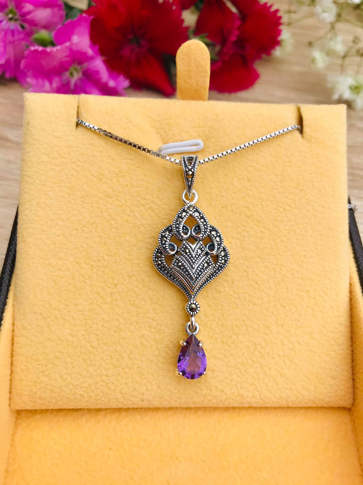 Lovely Amethyst Drop and Marcasite Silver Necklace Image