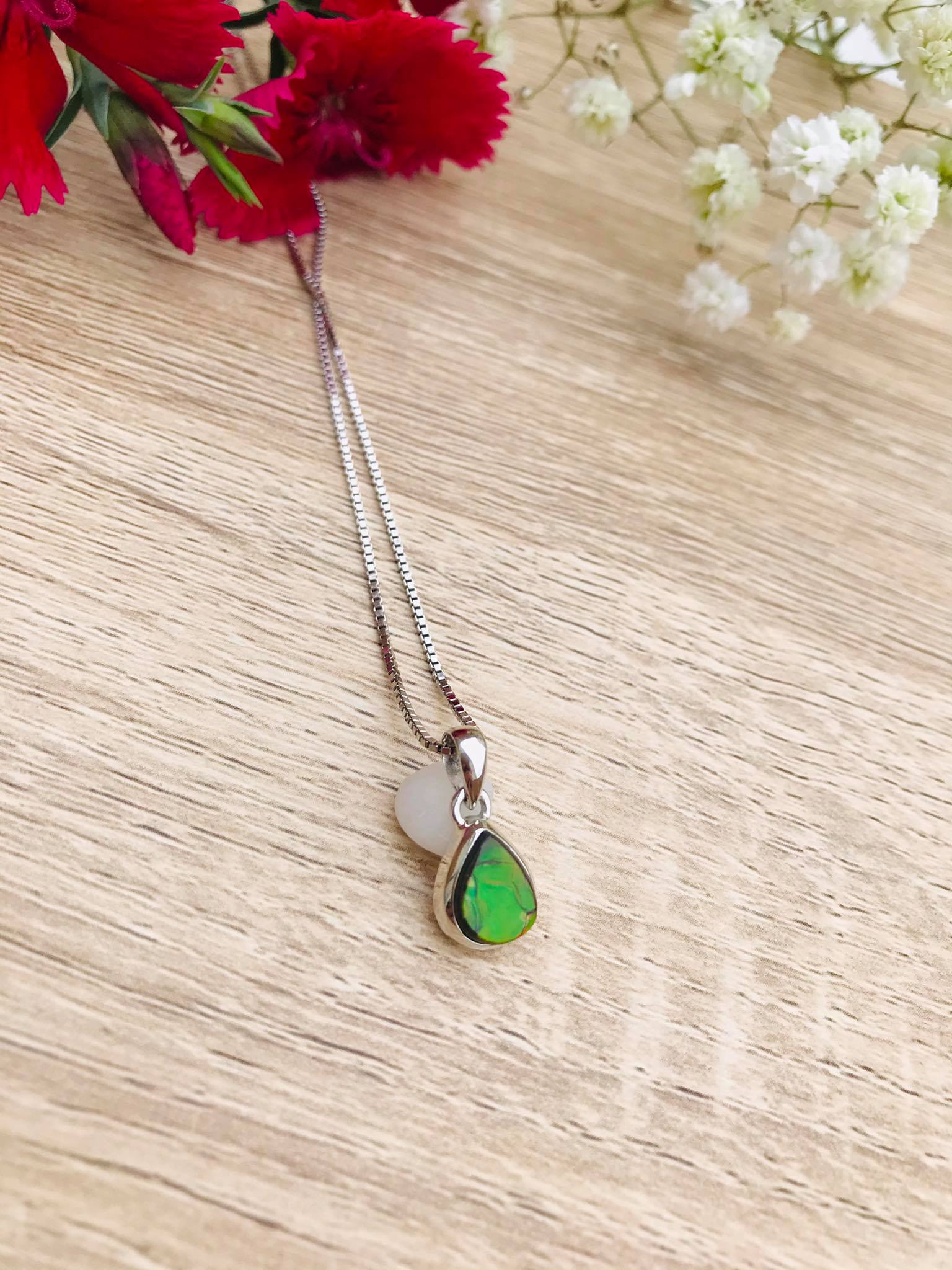 Lovely small high polished Ammolite set in Silver Necklace Image