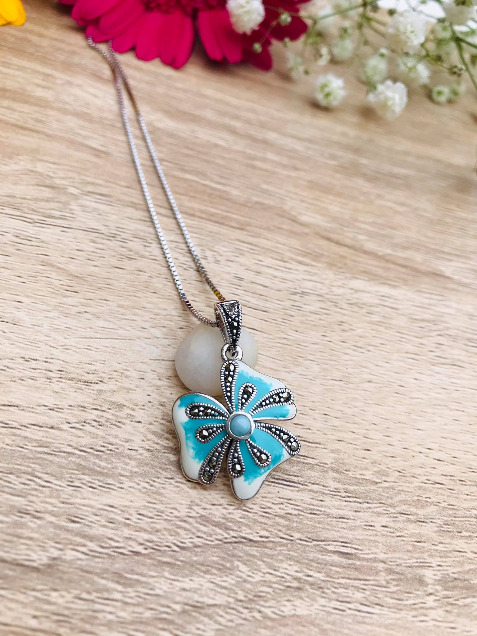 Stunning EnamelledSilver Necklace decorated with Swiss Marcasite and Larimar Image