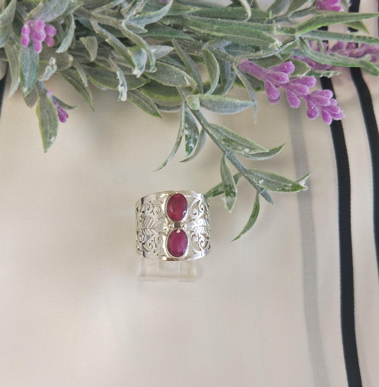 Semi Precious Ruby Silver Ring  Image