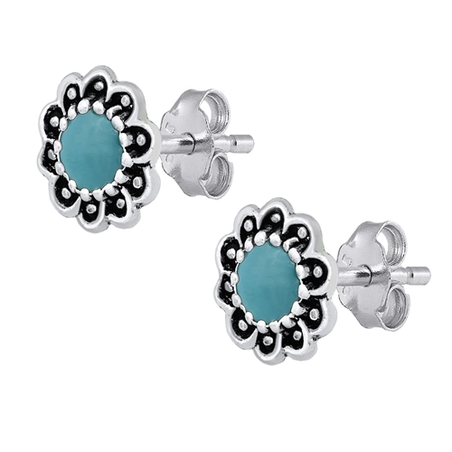Bali Turquoise Silver Stone Earrings Image