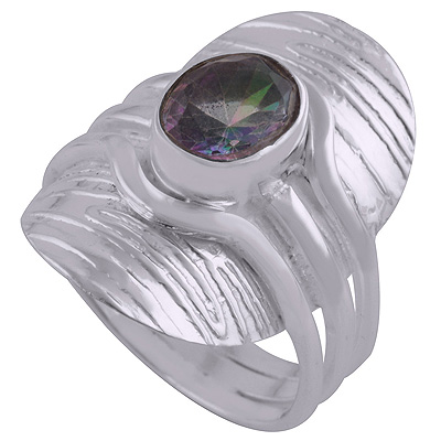 Sterling Silver Mystic Topaz Ring Size 8.5 Image
