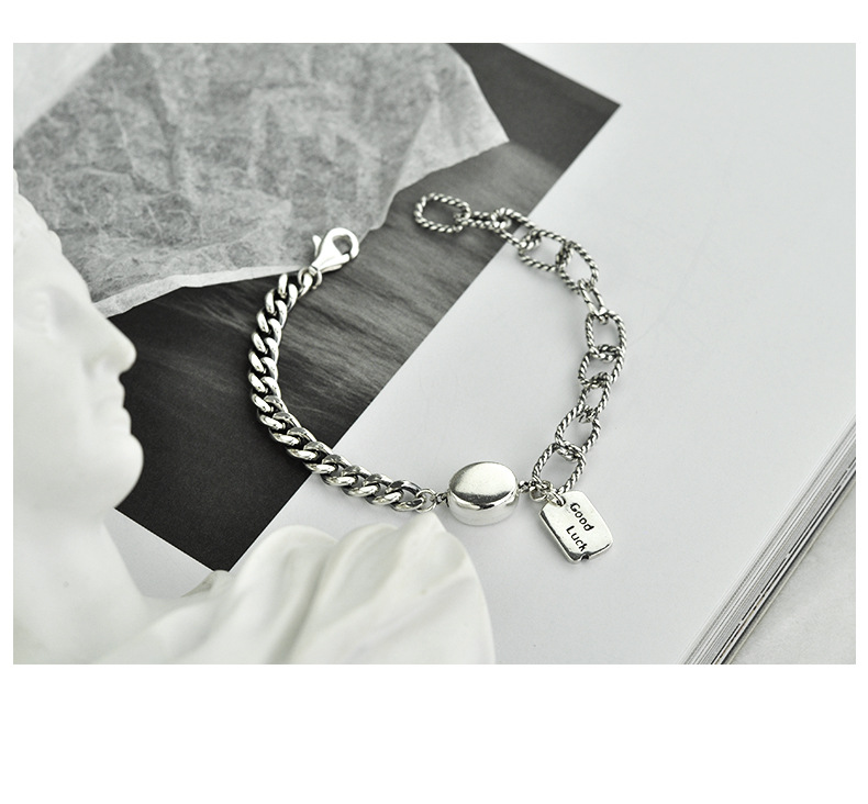 Trendy Plain Good Luck  Charm Silver Bracelet Image