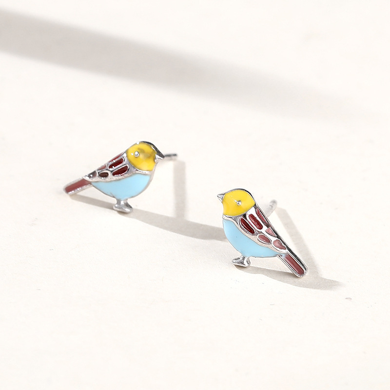 Lovely Colorful Bird Silver Studs Image