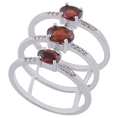 Sterling Silver Garnet Triple Ring size 8 Image