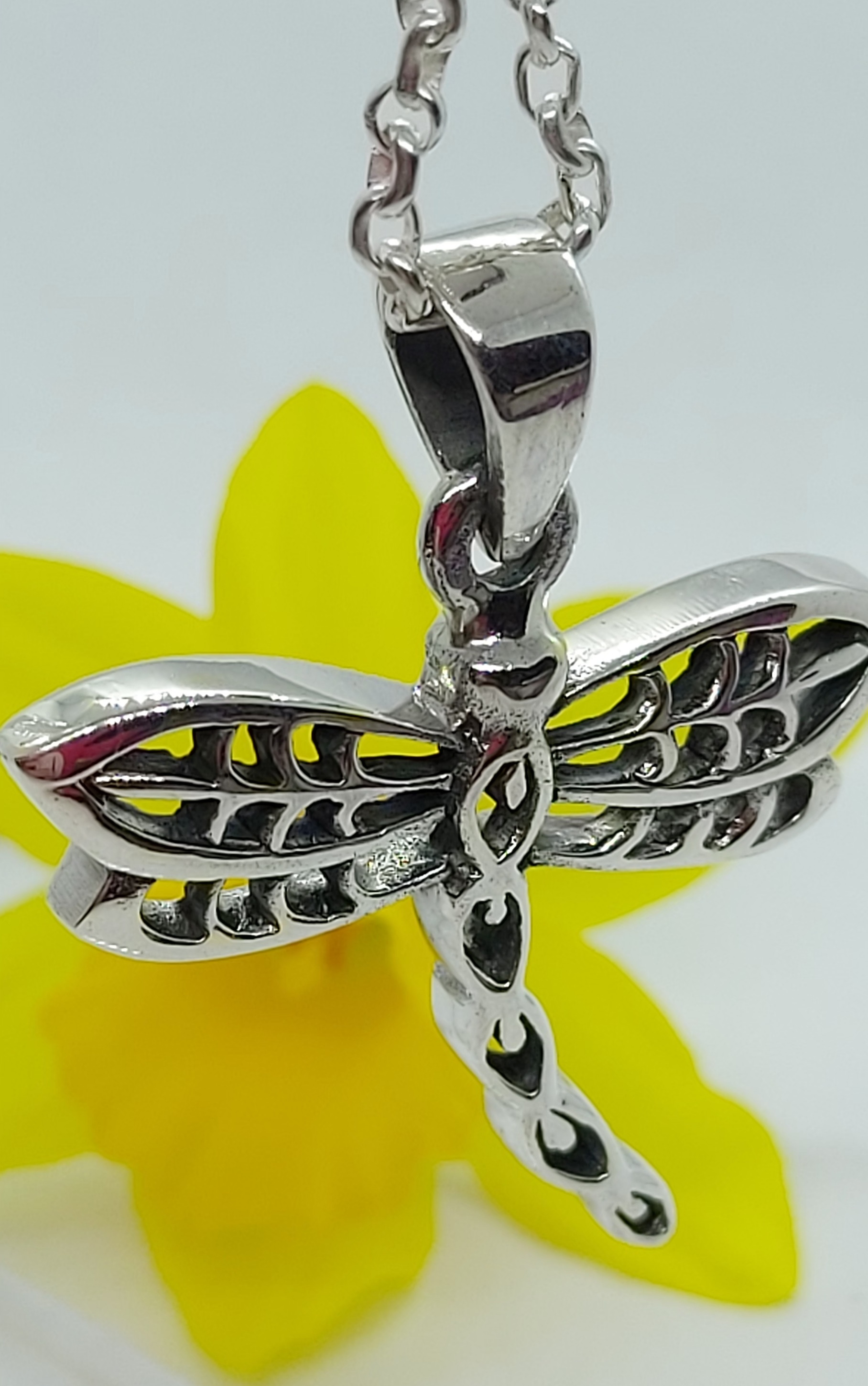 """Sterling Silver Dragonfly Pendant on 18"""" Chain  Image"""