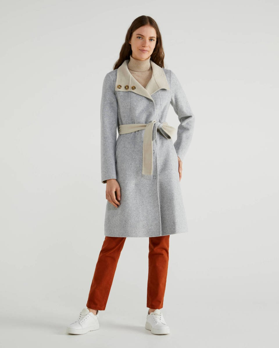 Grey Coat with belt Image
