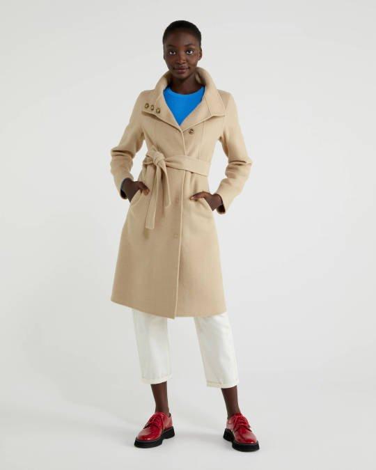 Beige Coat with belt Image