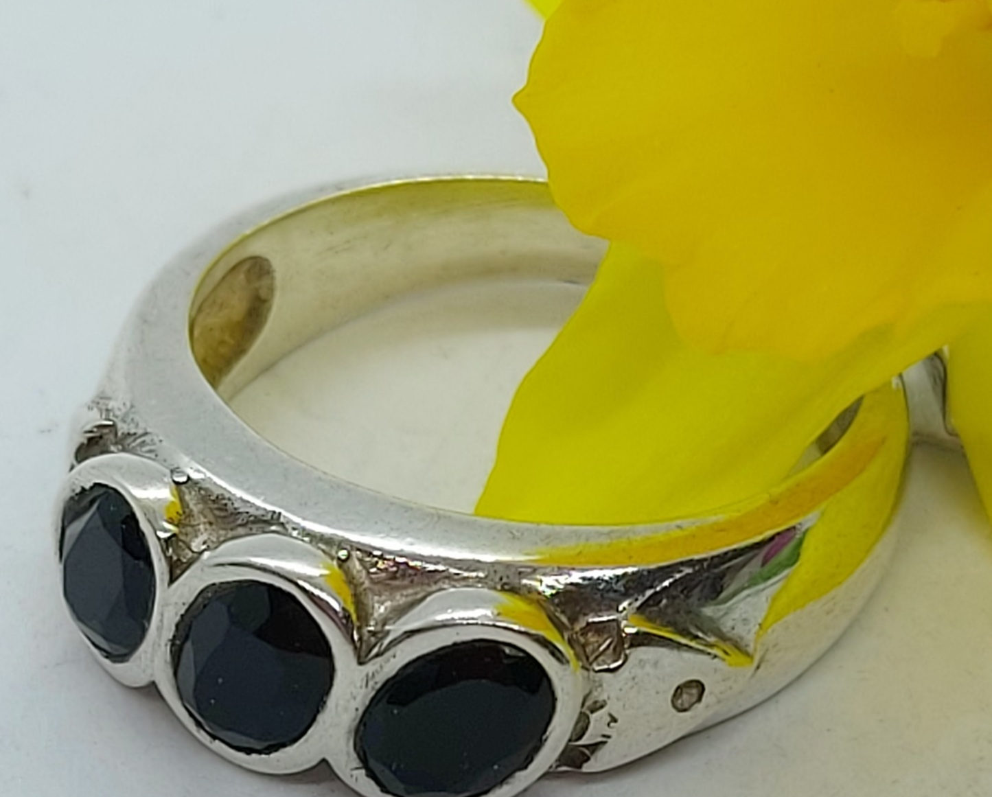 Sterling Silver Black Onyx Ring Size 7 Image