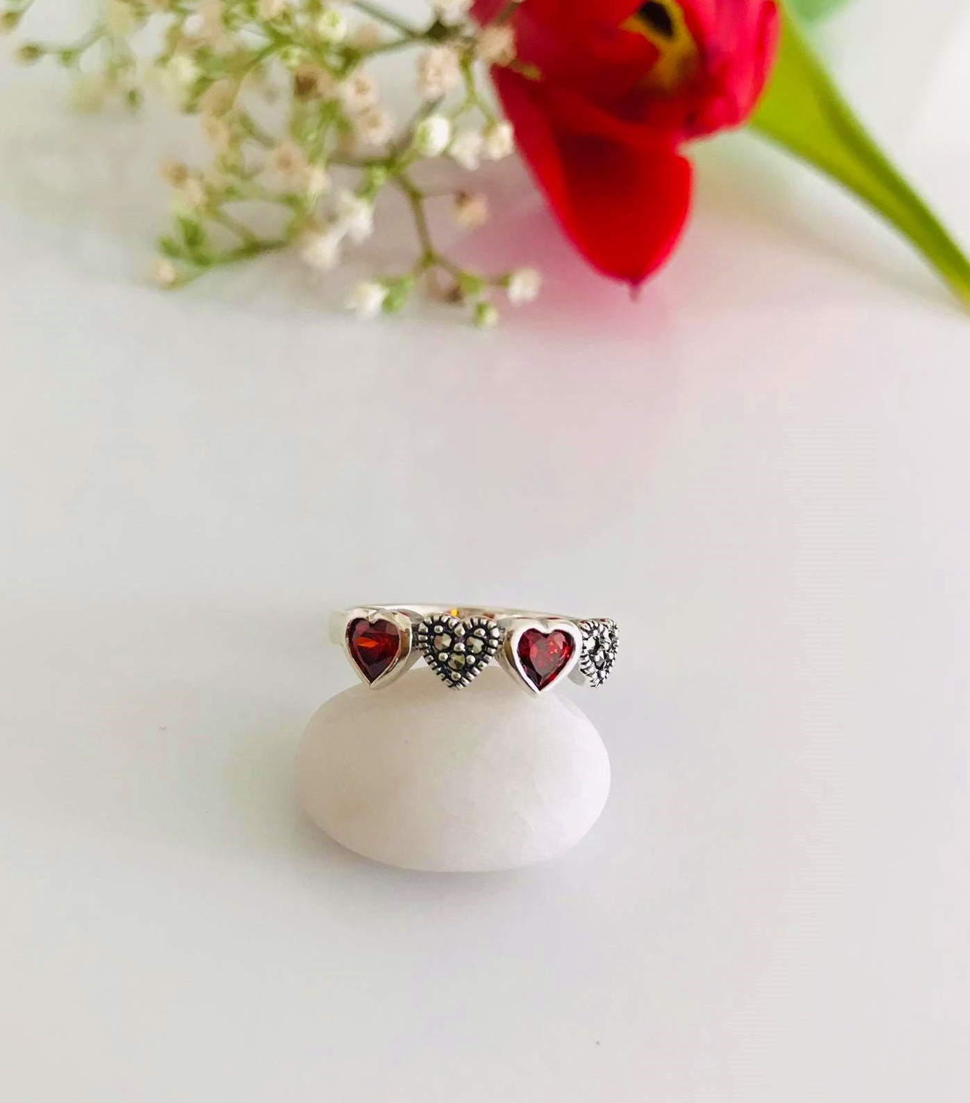 Garnet CZ and Marcasite set in Sterling Silver Ring Image