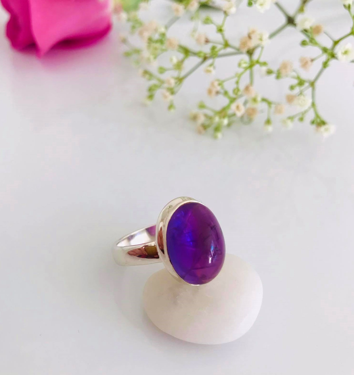 Amethyst set in Sterling Silver Ring Image
