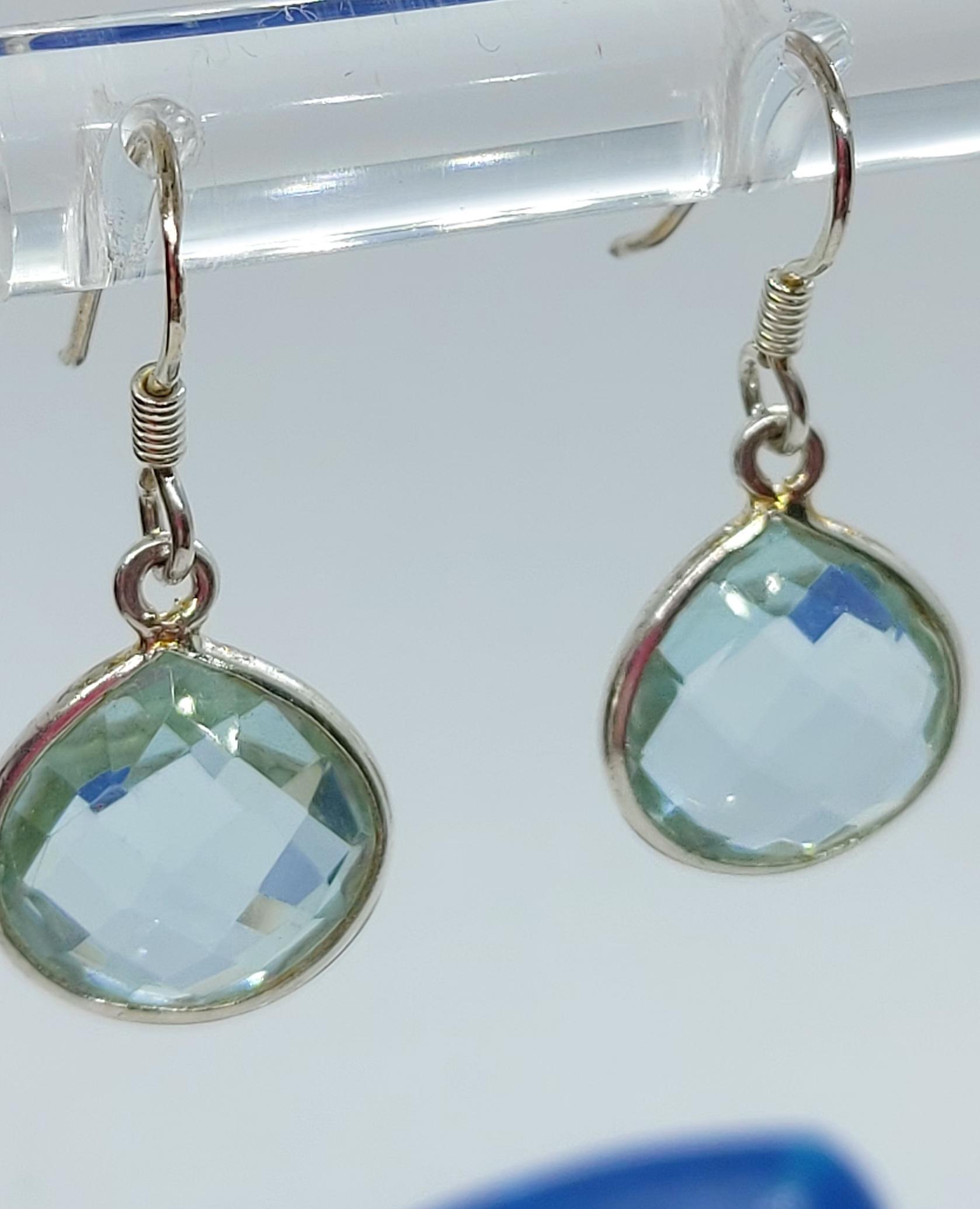 Sterling Silver Blue Topaz Earrings  Image