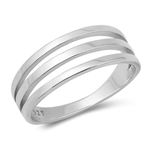 Wide Three Band Coil Wrap Silver Band Ring Image