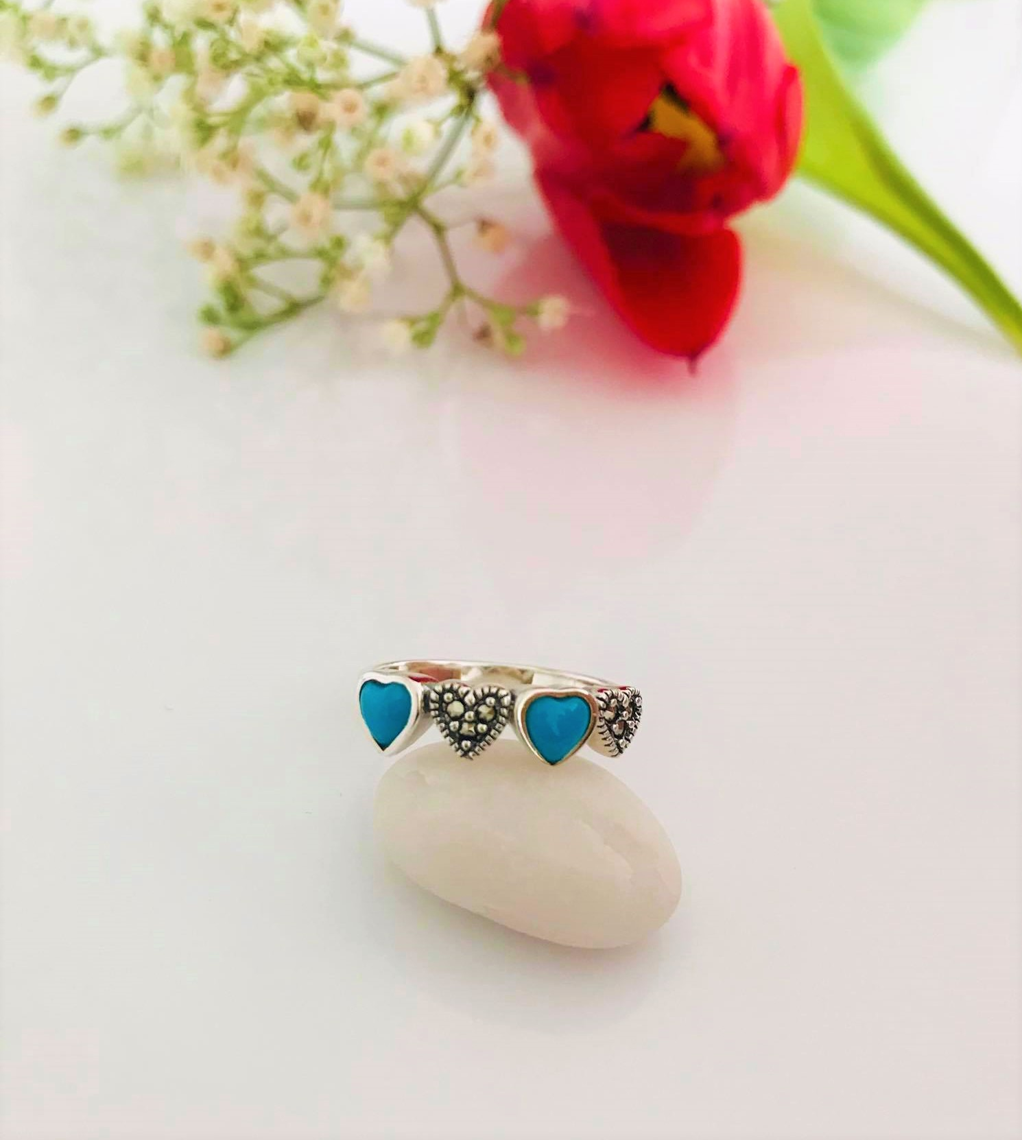 Turquoise and Marcasite set in Sterling Silver Ring Image