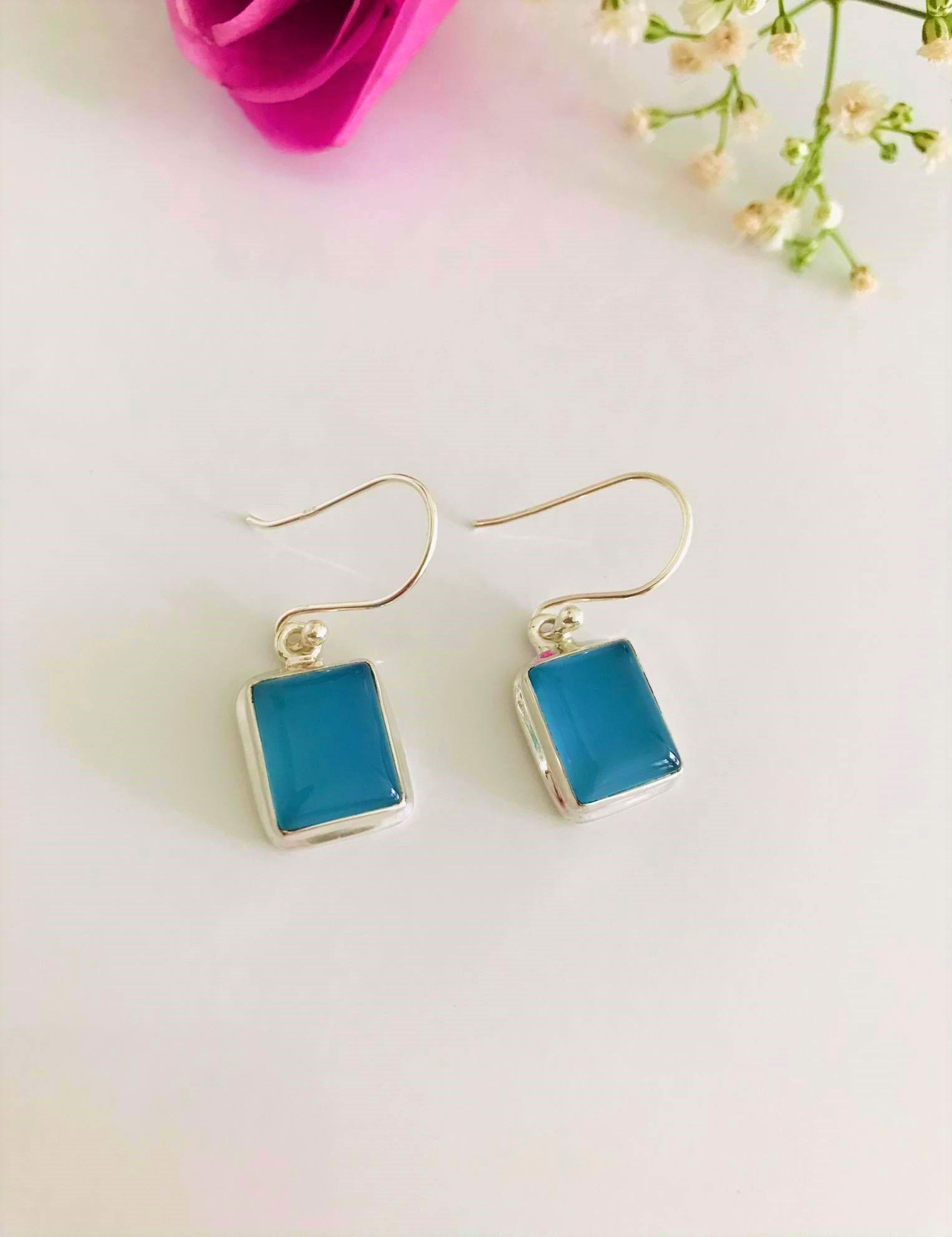 Blue Chalcedony set in Sterling Silver Earrings  Image