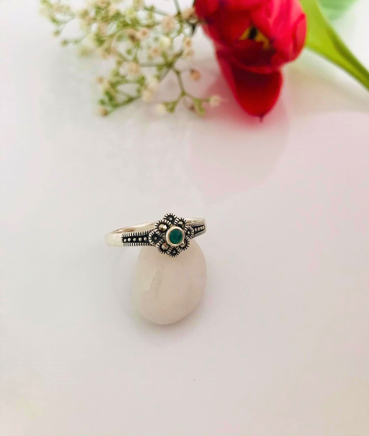 Green Onyx and Marcasite set in Sterling Silver Image