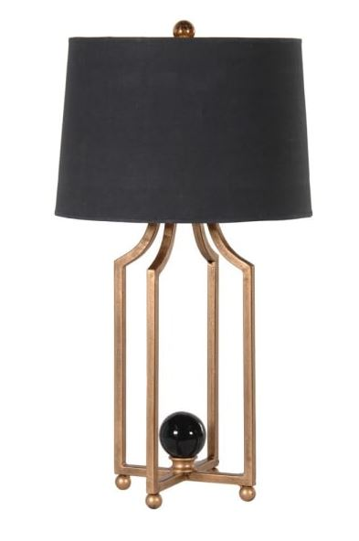 Metal Leg Table Lamp with Black Shade Image