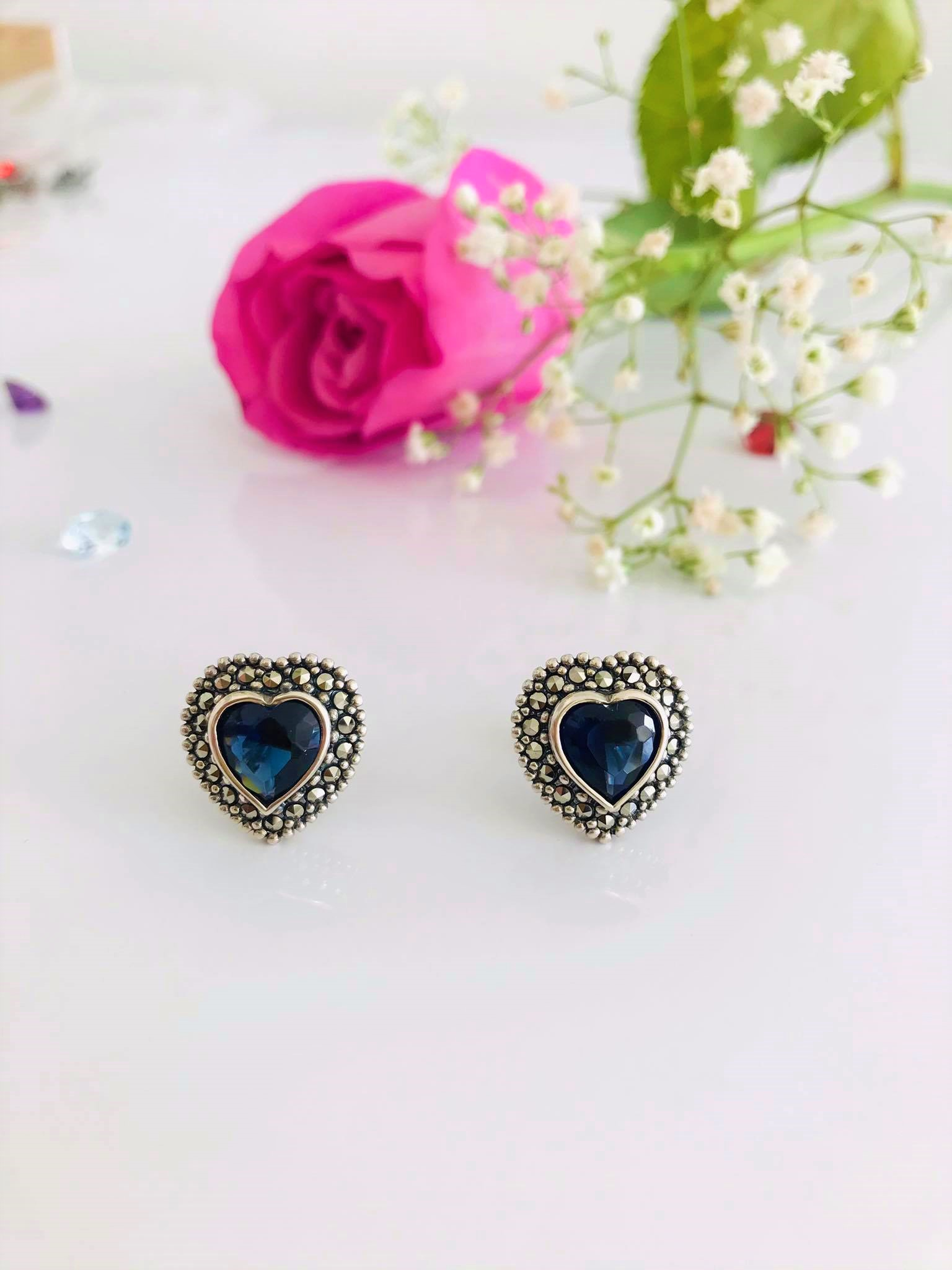 Large Beautiful Heart  Shape Sapphire and Marcasite Stud Earrings  Image