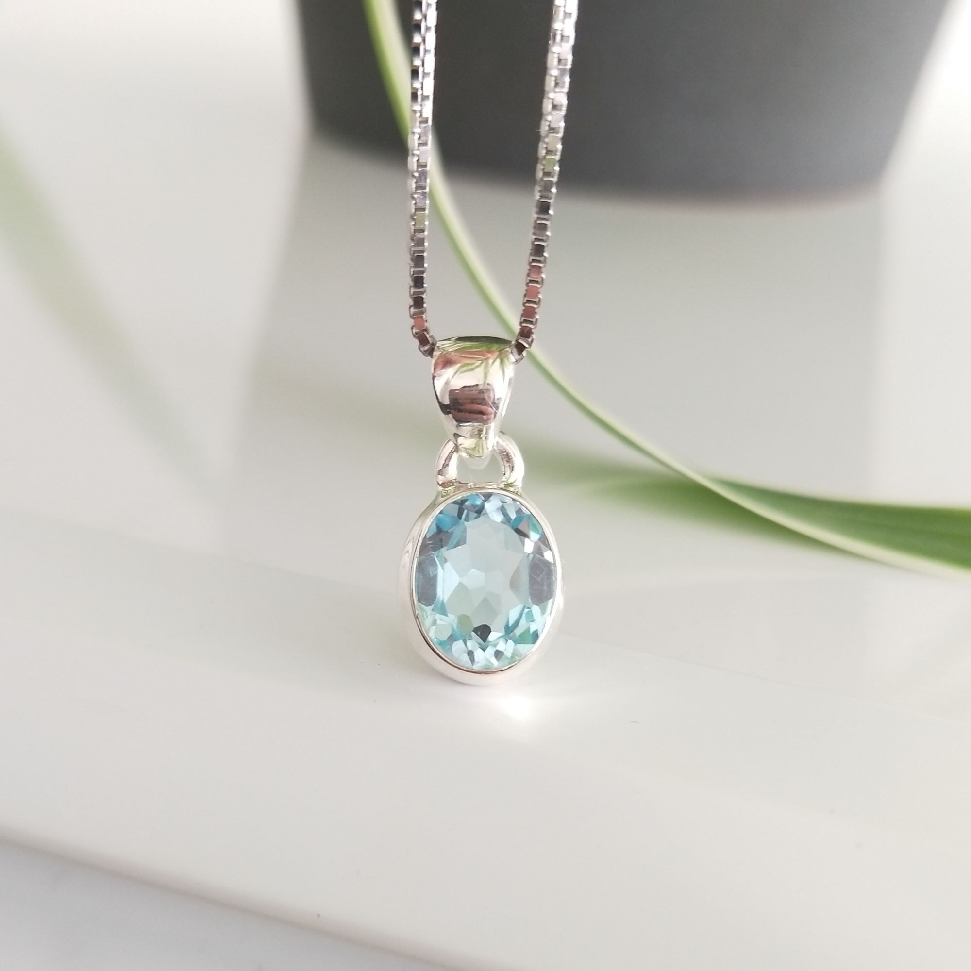 Elegant Sterling Silver Pendant Decorated with Oval Brilliant cut Natural Blue Topaz(GRADE:AAA) Necklace  Image