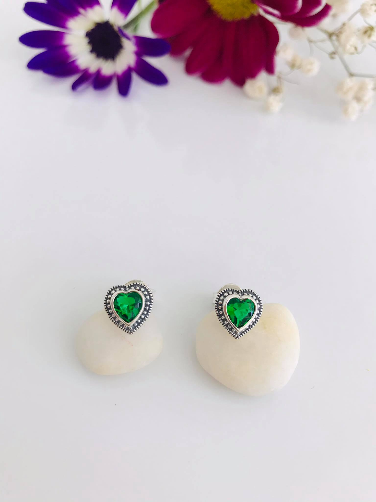 Emerald & Marcasite Heart Earrings Image