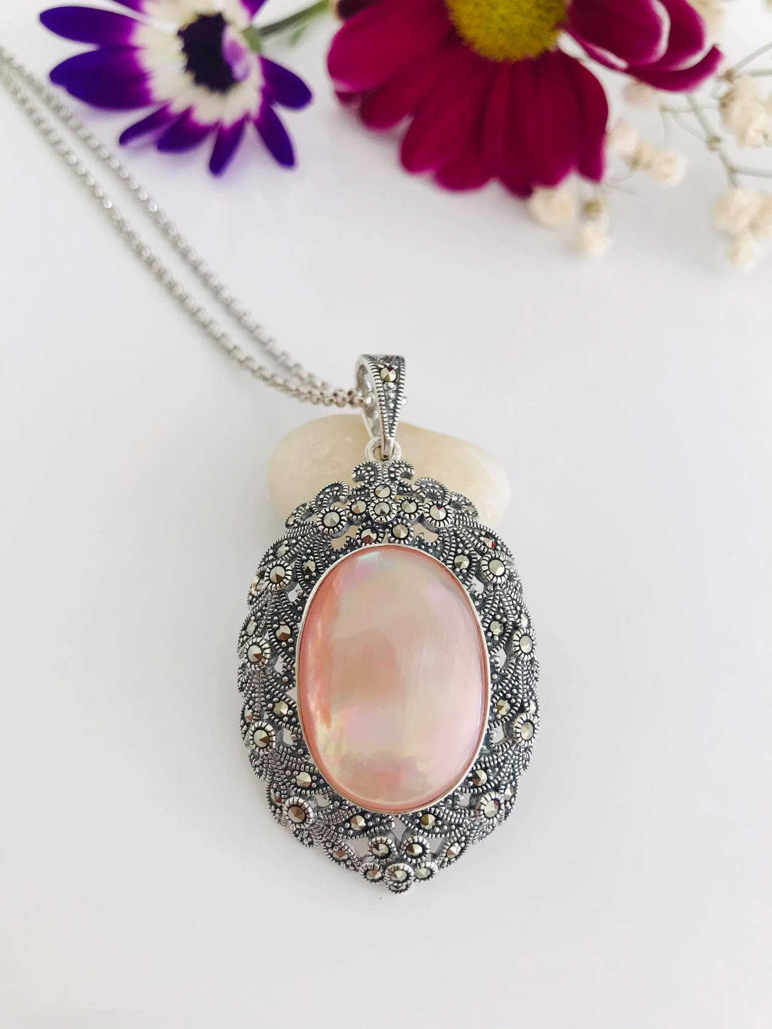 Pink Mother of Pearl and Marcasite Silver Necklace Image