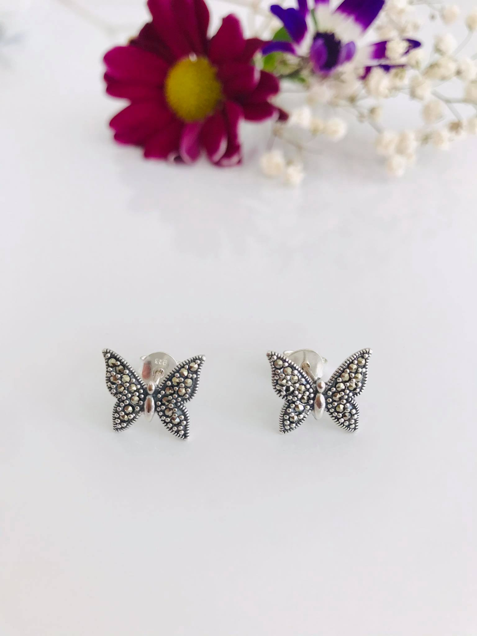 Marcasite Butterfly Silver stud Earrings Image
