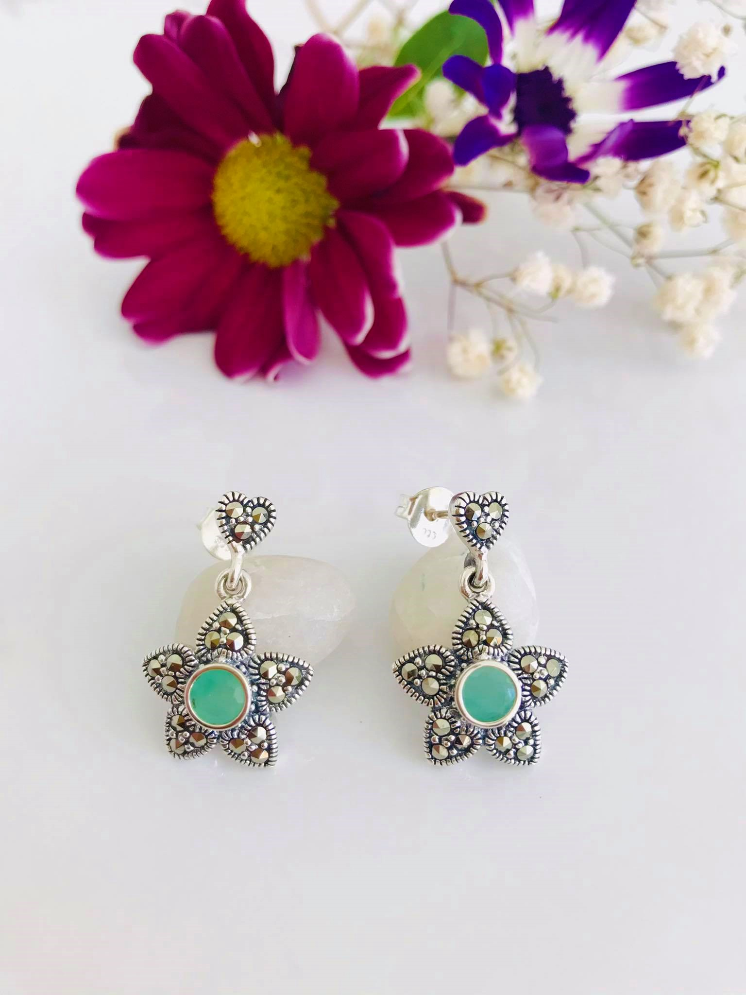 Emerald & Marcasite Silver Earrings Image